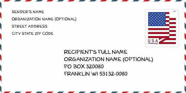 Zip Code 5 53132 Franklin Wi Wisconsin United States Zip Code 5 Plus 4